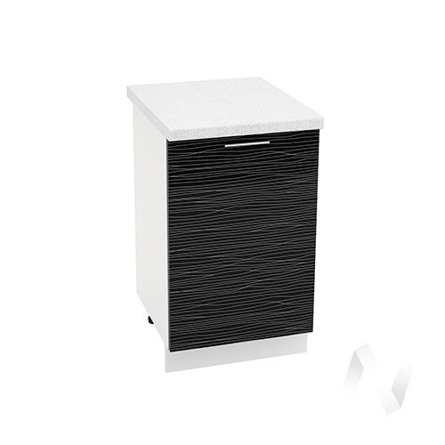"Кухня ""Валерия-М"": Шкаф нижний 500, ШН 500 (Страйп черный/корпус белый)"