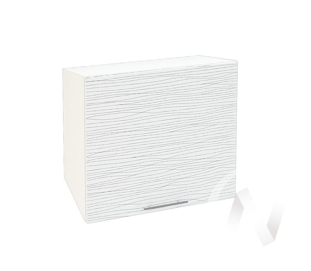 """Кухня """"Валерия-М"""": Шкаф верхний горизонтальный 509, ШВГ 509 (Страйп белый/корпус белый)"""