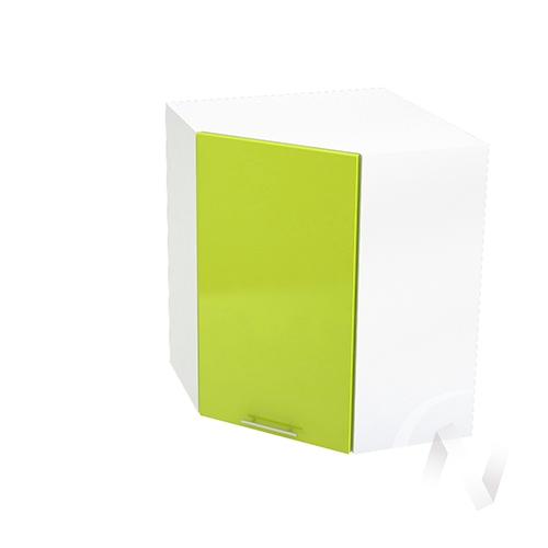 "Кухня ""Валерия-М"": Шкаф верхний угловой 590, ШВУ 590 (лайм глянец/корпус белый)"