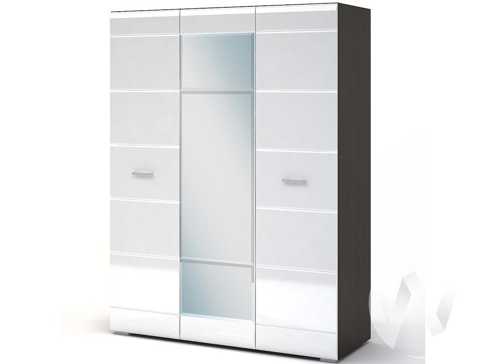 Шкаф 3-х створчатый Спальня Вегас (венге/белый глянец)
