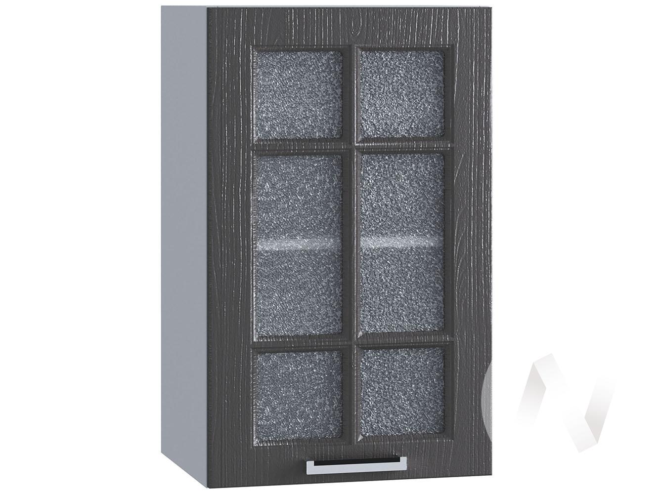"""Кухня """"Луксор"""": Шкаф верхний со стеклом 400, ШВС 400 (Клен серый/корпус белый)"""