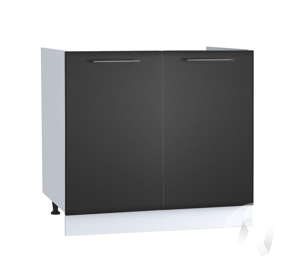 """Кухня """"Люкс"""": Шкаф нижний под мойку 800, ШНМ 800 новый (Шелк венге/корпус белый)"""