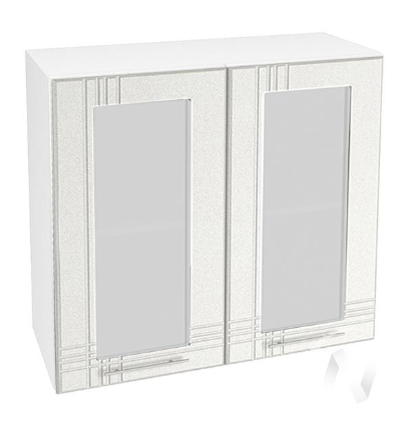 "Кухня ""Струна"": Шкаф верхний со стеклом 800, ШВС 800 новый (белый металлик/корпус белый)"