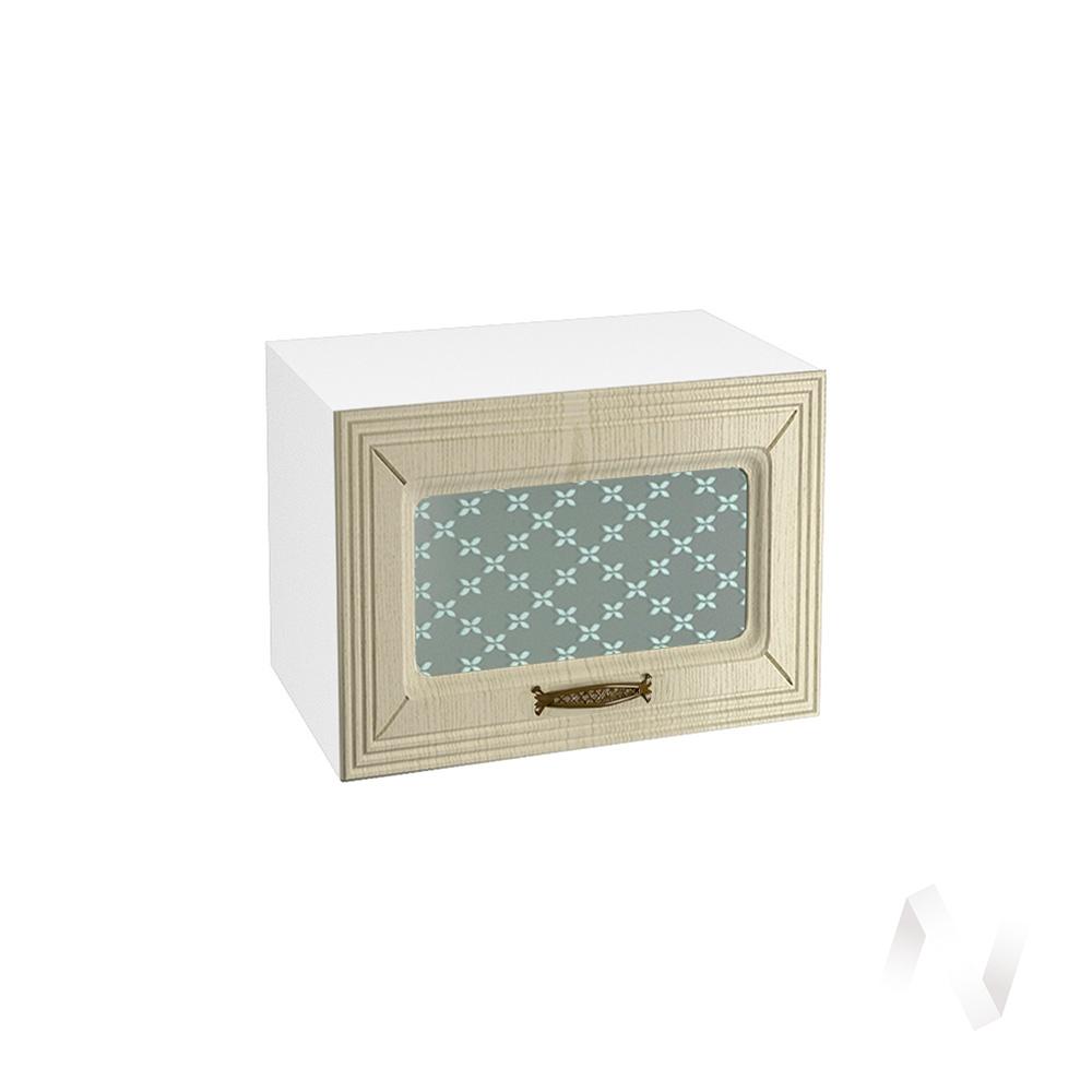 """Кухня """"Изабель"""": Шкаф верхний горизонтальный со стеклом 500, ШВГС 500 (корпус белый)"""