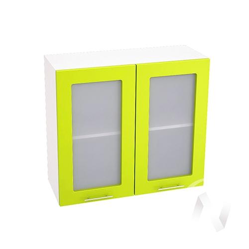 """Кухня """"Валерия-М"""": Шкаф верхний со стеклом 800, ШВС 800 (лайм глянец/корпус белый)"""