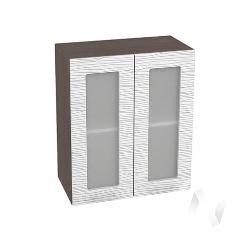 """Кухня """"Валерия-М"""": Шкаф верхний со стеклом 600, ШВС 600 новый (Страйп белый/корпус венге)"""
