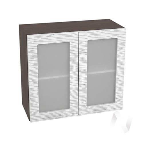 """Кухня """"Валерия-М"""": Шкаф верхний со стеклом 800, ШВС 800 новый (Страйп белый/корпус венге)"""