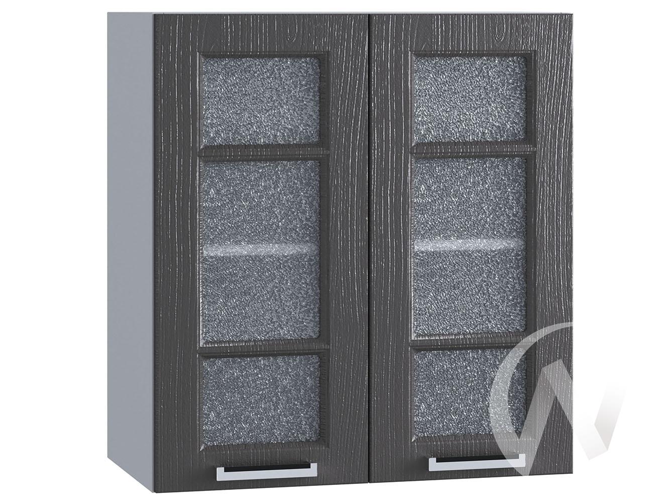 """Кухня """"Луксор"""": Шкаф верхний со стеклом 600, ШВС 600 (Клен серый/корпус белый)"""