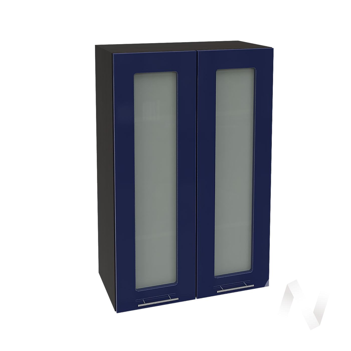 """Кухня """"Валерия-М"""": Шкаф верхний со стеклом 609, ШВС 609 новый (Синий глянец/корпус венге)"""