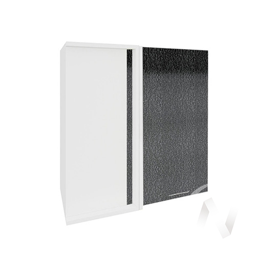 """Кухня """"Валерия-М"""": Шкаф верхний угловой 690, ШВУ 690 (дождь черный/корпус белый)"""