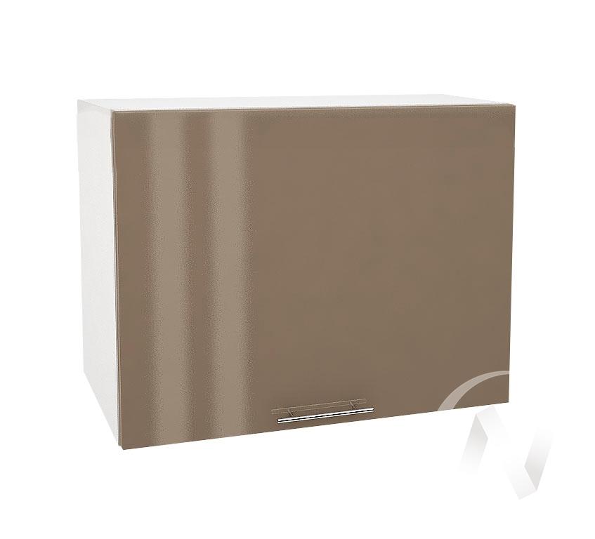 """Кухня """"Валерия-М"""": Шкаф верхний горизонтальный 609, ШВГ 609 (Капучино глянец/корпус белый)"""