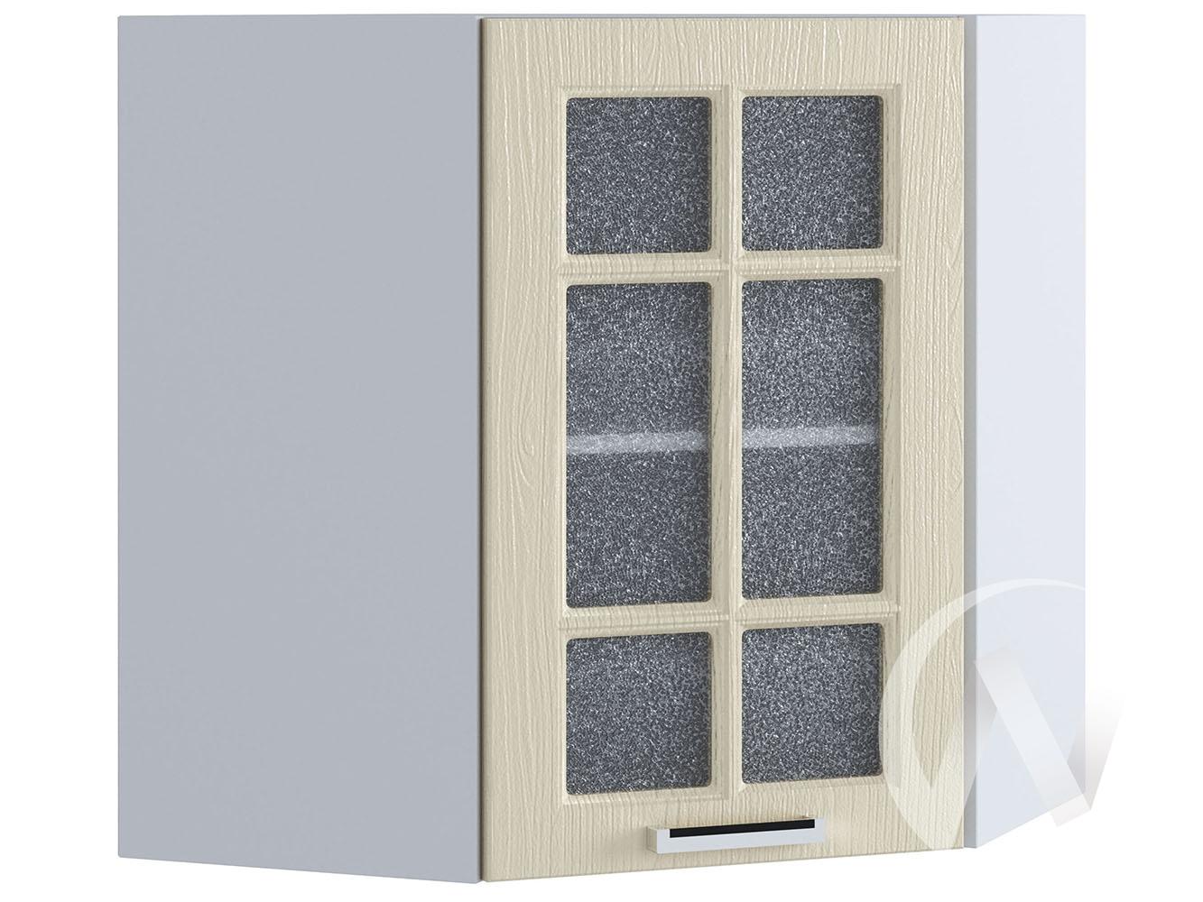 """Кухня """"Луксор"""": Шкаф верхний угловой со стеклом 590, ШВУС 590 (Клен крем/корпус белый)"""