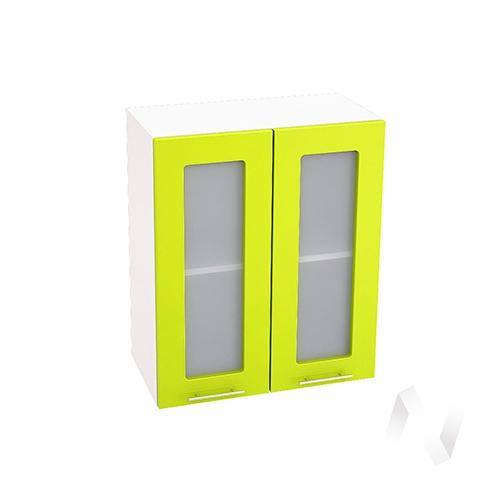 """Кухня """"Валерия-М"""": Шкаф верхний со стеклом 600, ШВС 600 (лайм глянец/корпус белый)"""