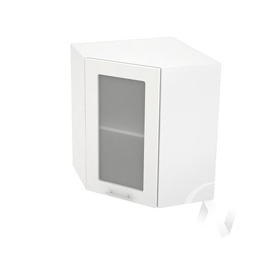 """Кухня """"Валерия-М"""": Шкаф верхний угловой со стеклом 590, ШВУС 590 (белый глянец/корпус белый)"""