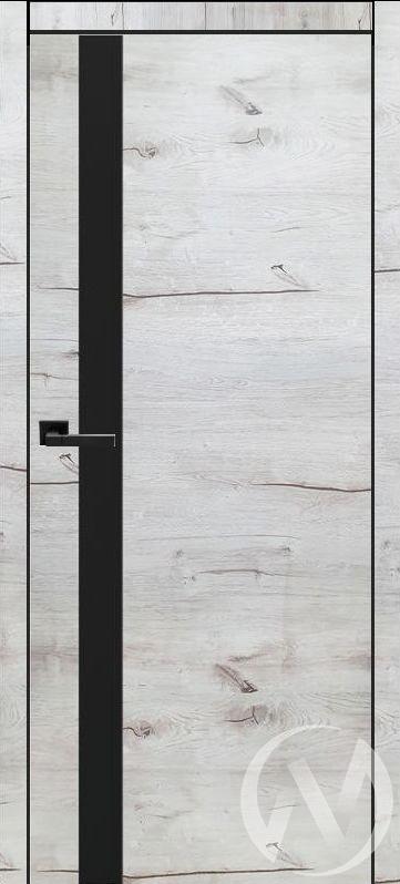 Дверь ЭКШ Тип Royal-2, 60, Дуб арктика (светлый), стекло черное