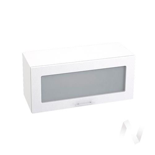 """Кухня """"Валерия-М"""": Шкаф верхний горизонтальный со стеклом 800, ШВГС 800 (бел. металлик/корпус белый)"""
