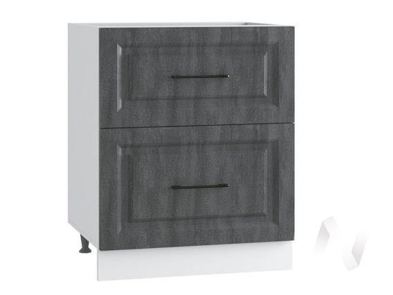 "Кухня ""Либерти"": Шкаф нижний с 2-мя ящиками 600, ШН2Я 600 (Холст грей/корпус белый)"
