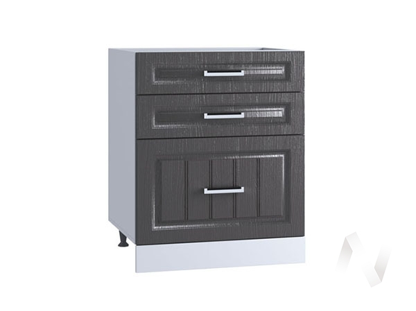 "Кухня ""Луксор"": Шкаф нижний с 3-мя ящиками 600, ШН3Я 600 (Клен серый/корпус белый)"