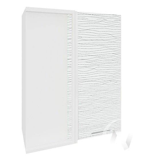 """Кухня """"Валерия-М"""": Шкаф верхний угловой 699, ШВУ 699 (Страйп белый/корпус белый)"""