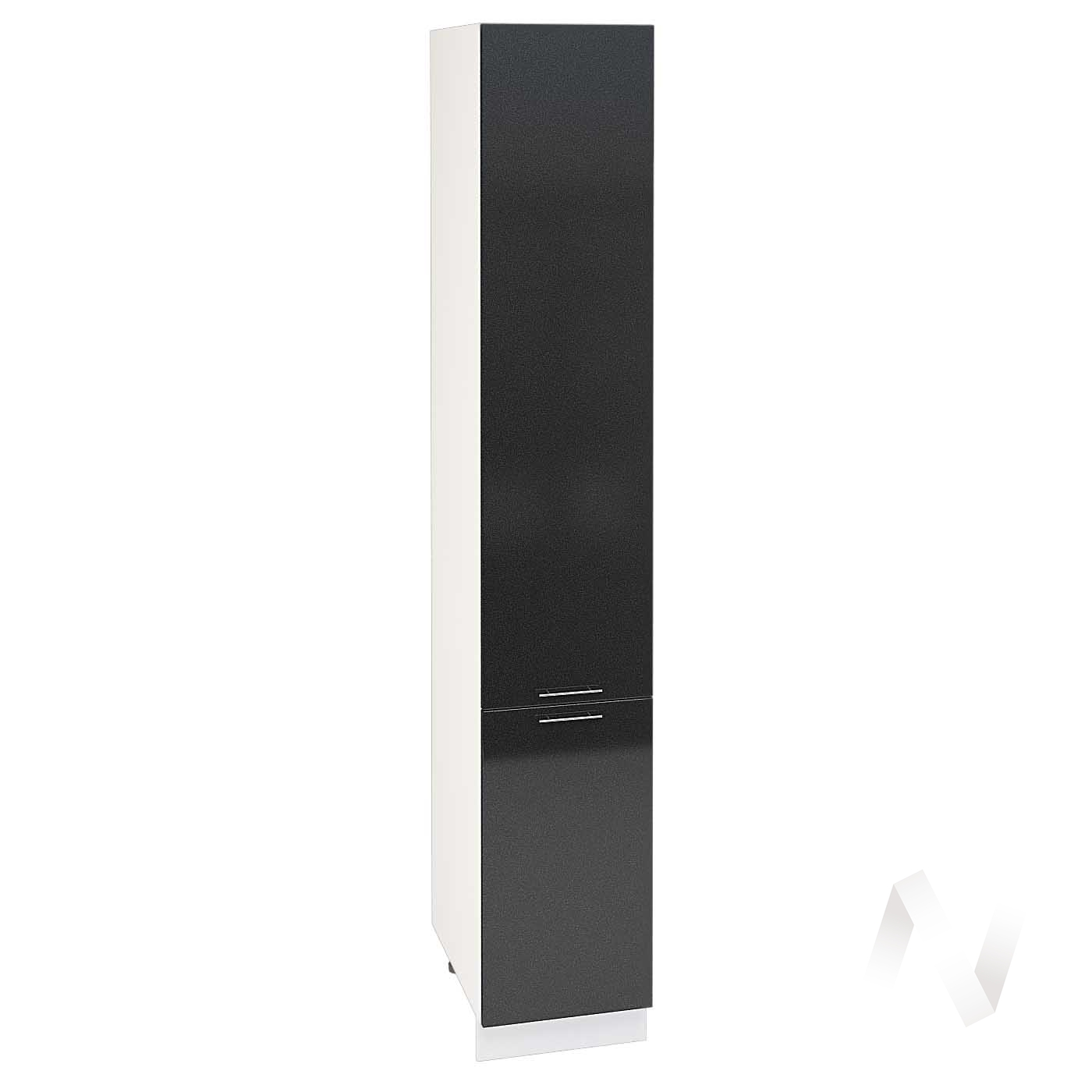 "Кухня ""Валерия-М"": Шкаф пенал 400, ШП 400 Н (черный металлик/корпус белый)"