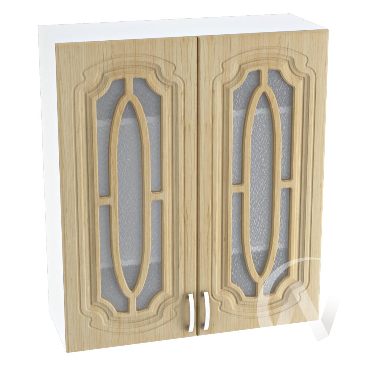 """Кухня """"Настя"""": Шкаф верхний со стеклом 809, ШВС 809 новый (Береза/корпус белый)"""