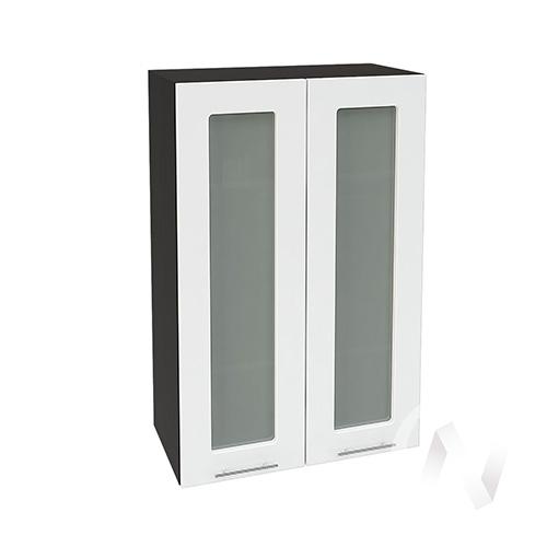 """(2)Кухня """"Валерия-М"""": Шкаф верхний со стеклом 609, ШВС 609 (белый глянец/корпус венге)"""