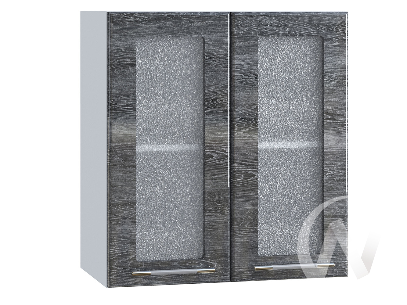 "Кухня ""Танго"": Шкаф верхний со стеклом 600, ШВС 600 (Дуб шале серебро/корпус белый)"