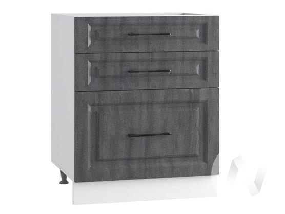 "Кухня ""Либерти"": Шкаф нижний с 3-мя ящиками 600, ШН3Я 600 (Холст грей/корпус белый)"