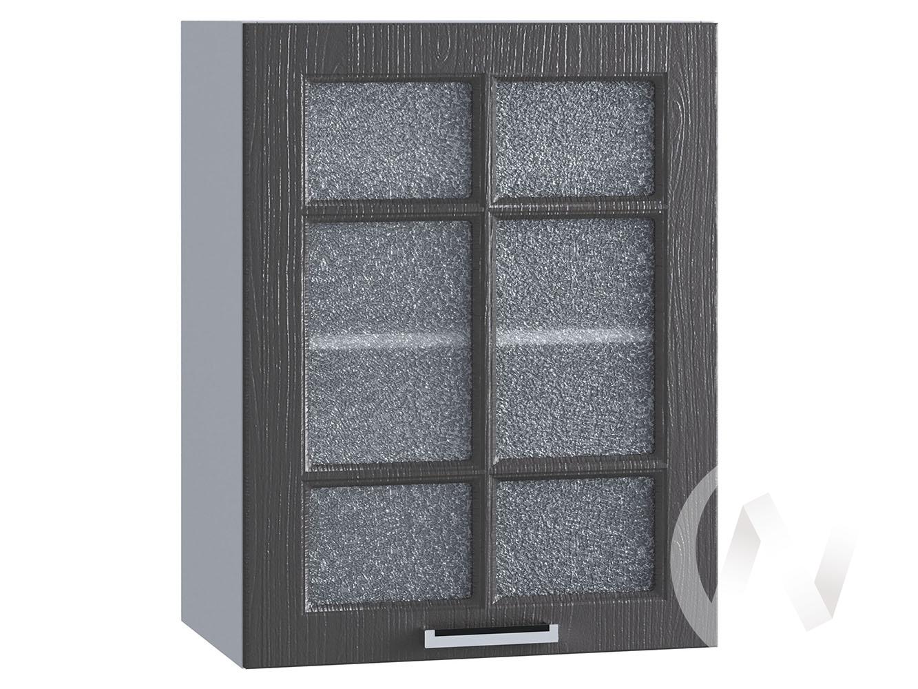 """Кухня """"Луксор"""": Шкаф верхний со стеклом 500, ШВС 500 (Клен серый/корпус белый)"""