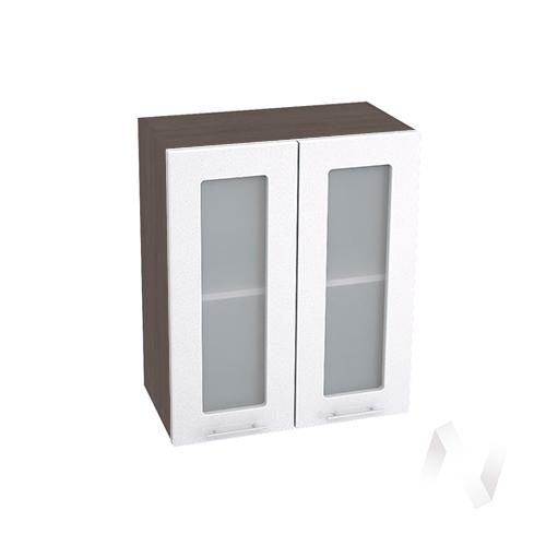 """Кухня """"Валерия-М"""": Шкаф верхний со стеклом 600, ШВС 600 новый (белый металлик/корпус венге)"""