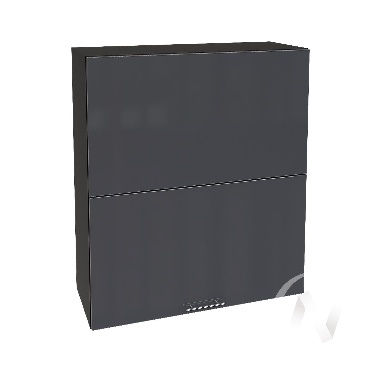 """Кухня """"Валерия-М"""": Шкаф верхний горизонтальный 802, ШВГ 802 (Антрацит глянец/корпус венге)"""