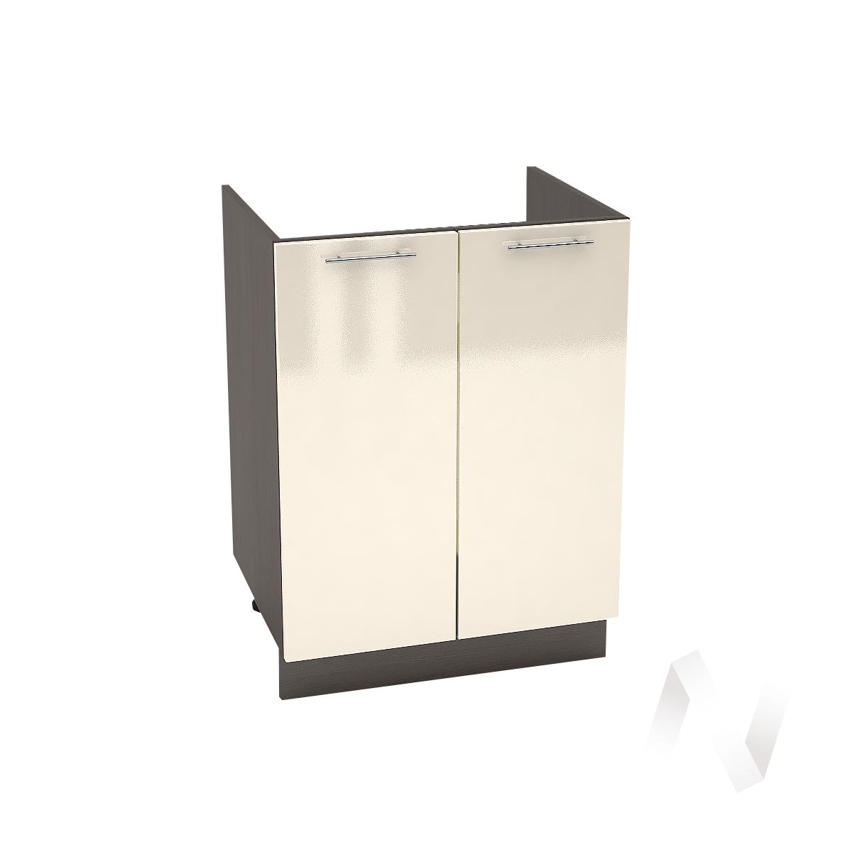 """Кухня """"Валерия-М"""": Шкаф нижний под мойку 600, ШНМ 600 новый (Ваниль глянец/корпус венге)"""