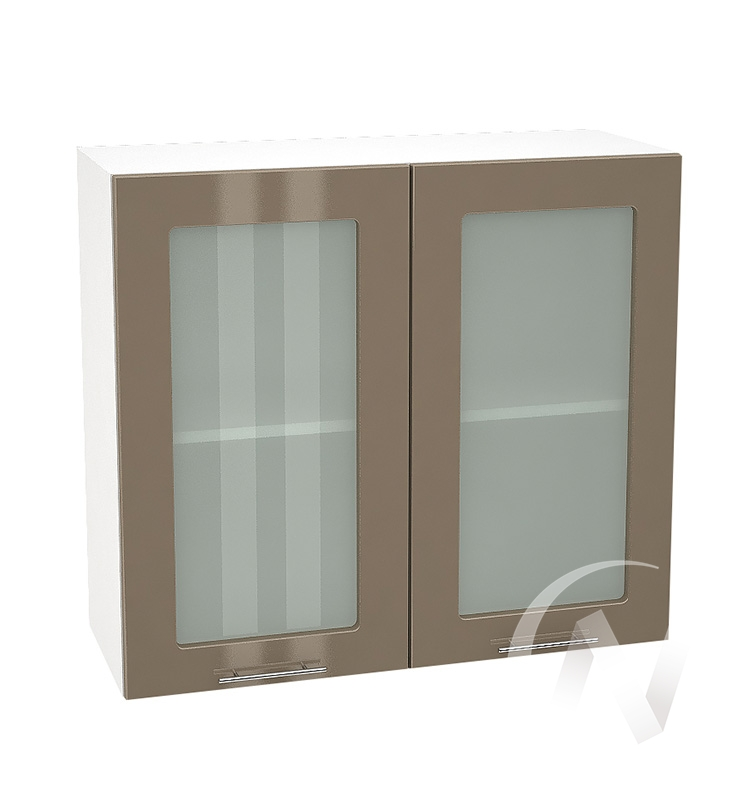 """Кухня """"Валерия-М"""": Шкаф верхний со стеклом 800, ШВС 800 новый (Капучино глянец/корпус белый)"""