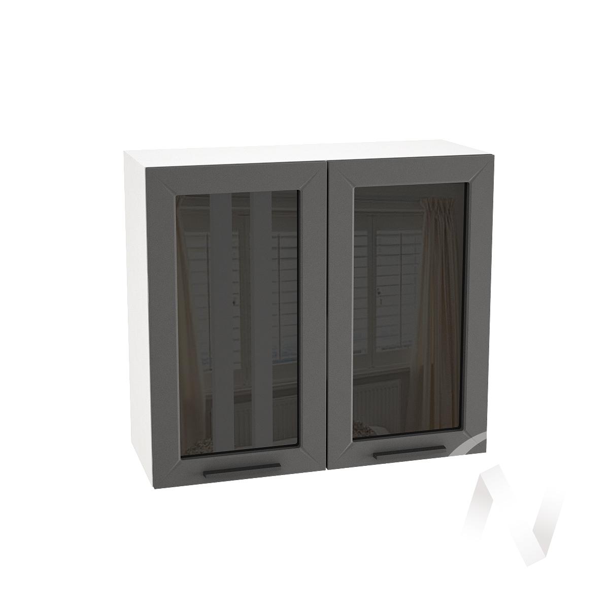 """Кухня """"Глетчер"""": Шкаф верхний со стеклом 800, ШВС 800 новый (Маренго силк/корпус белый)"""