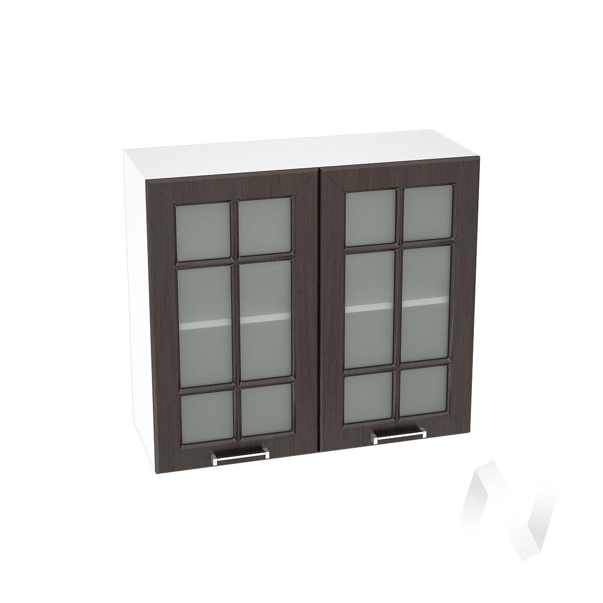 """Кухня """"Прага"""": Шкаф верхний со стеклом 800, ШВС 800 новый (венге/корпус белый)"""