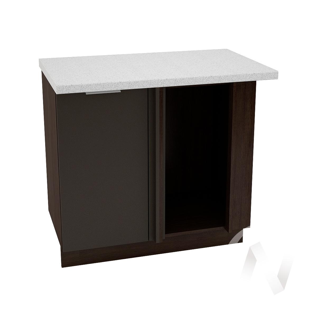 """Кухня """"Терра"""": Шкаф нижний угловой 990М, ШНУ 990М (смоки софт/корпус венге)"""