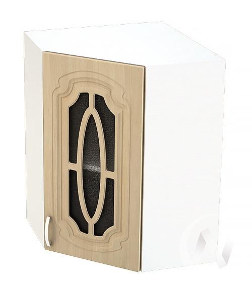 """Кухня """"Настя"""": Шкаф верхний угловой со стеклом 599, ШВУС 599 (Береза/корпус белый)"""