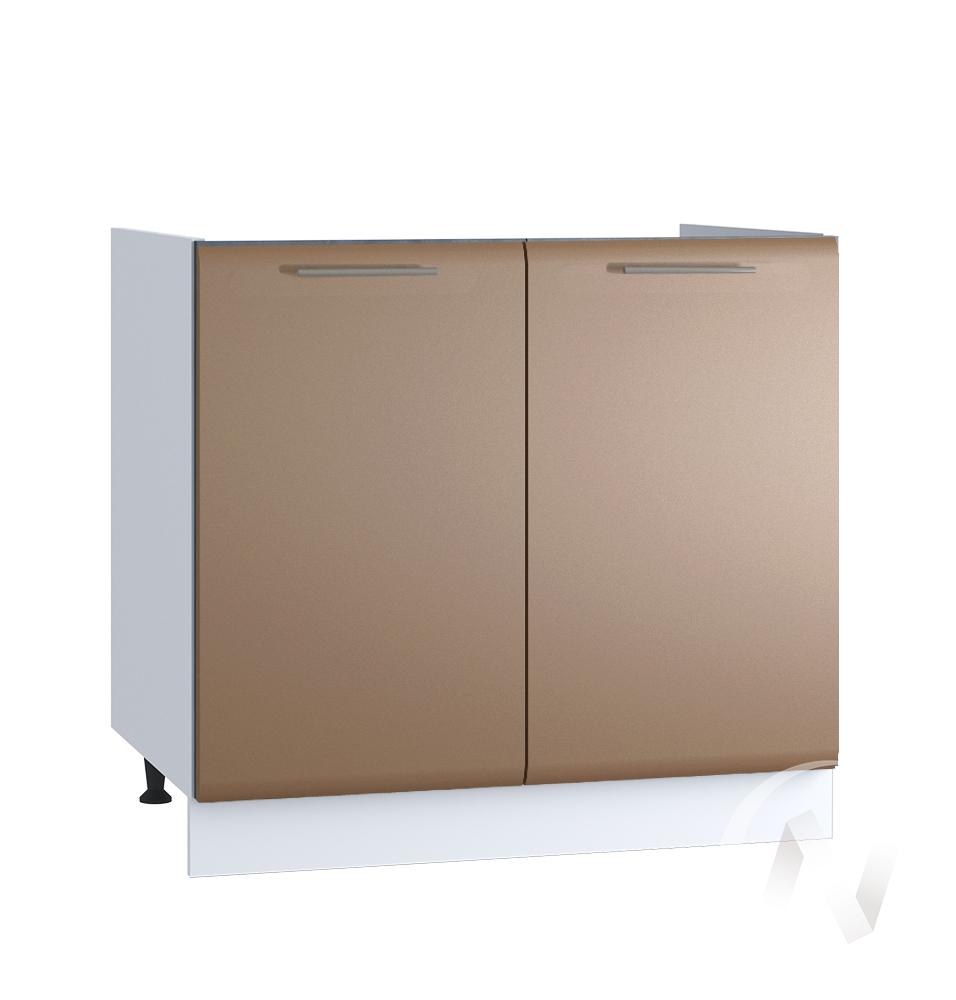 """Кухня """"Люкс"""": Шкаф нижний под мойку 800, ШНМ 800 новый (Шоколад матовый/корпус белый)"""