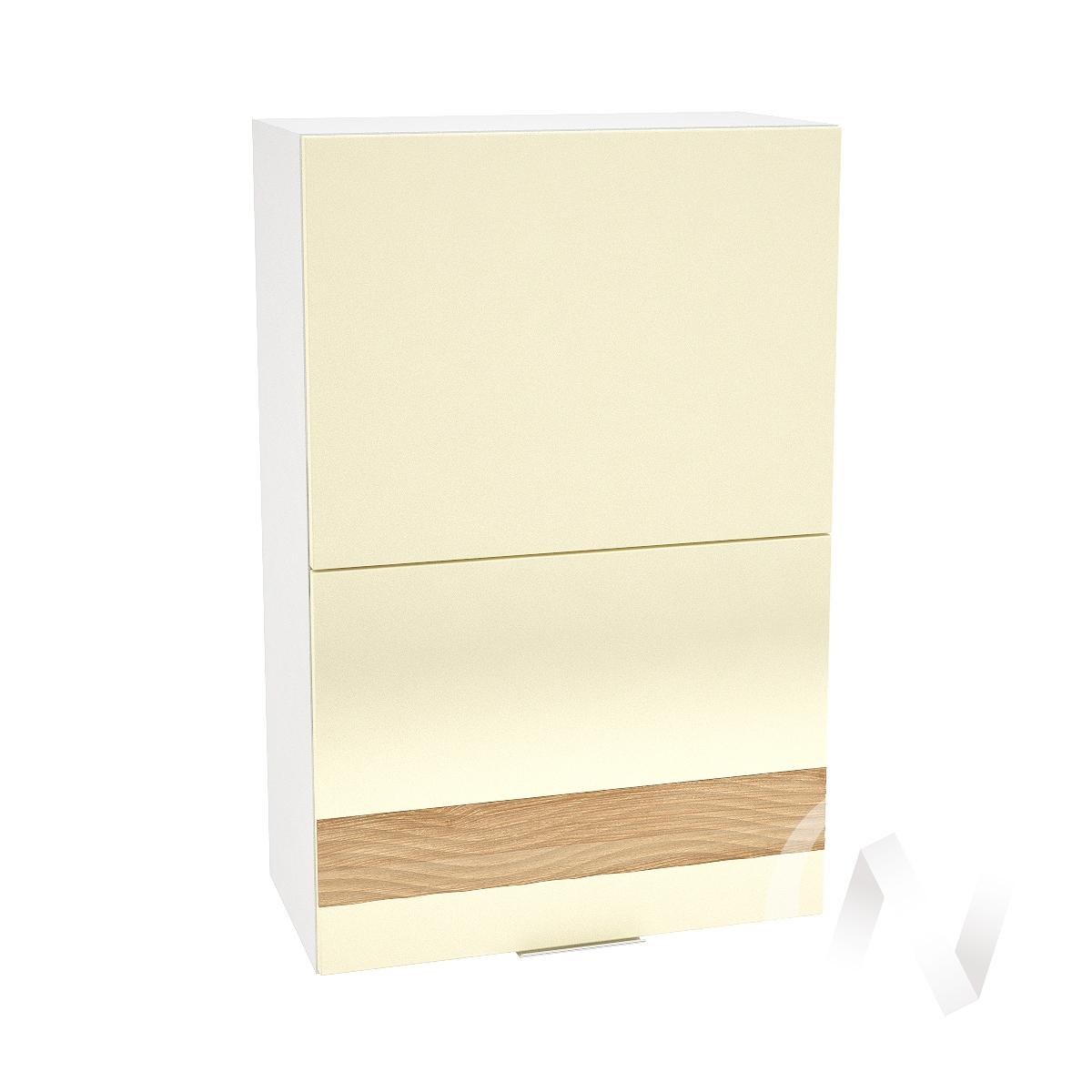"""Кухня """"Терра"""": Шкаф верхний горизонтальный 602, ШВГ 602 (ваниль софт/ель карпатская/корпус белый)"""