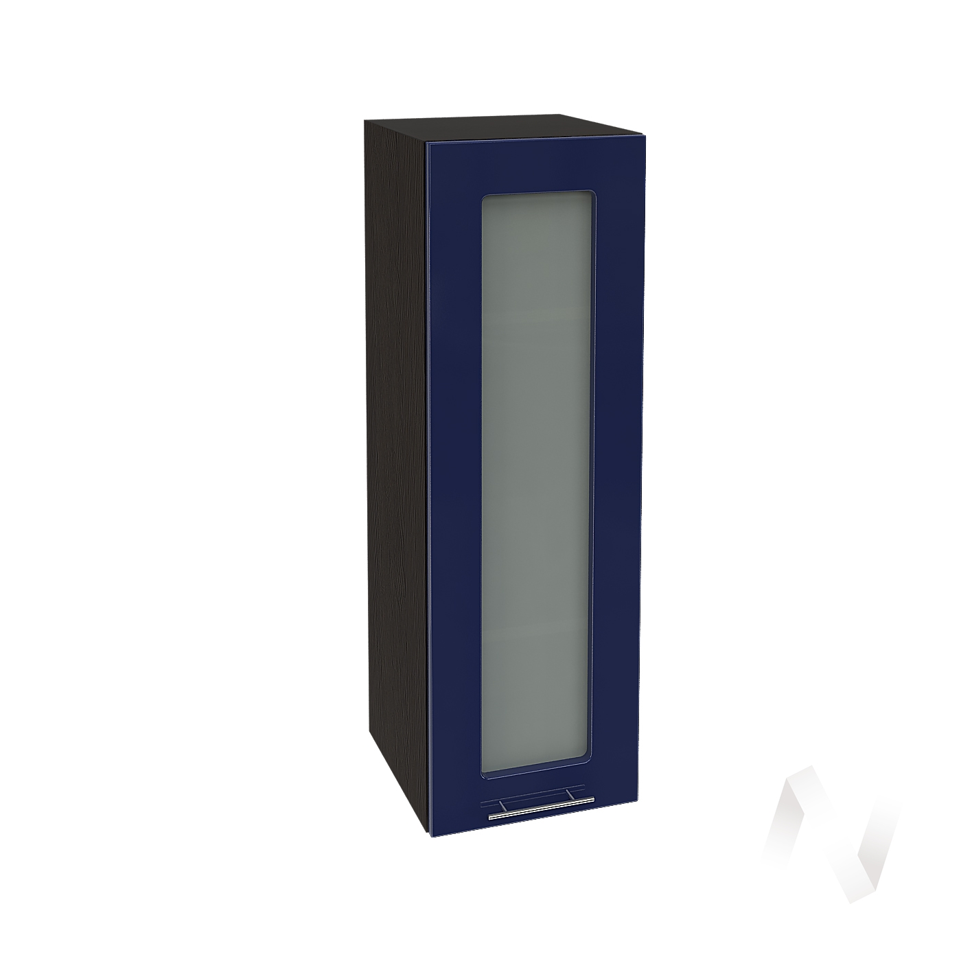 """Кухня """"Валерия-М"""": Шкаф верхний со стеклом 309, ШВС 309 (Синий глянец/корпус венге)"""