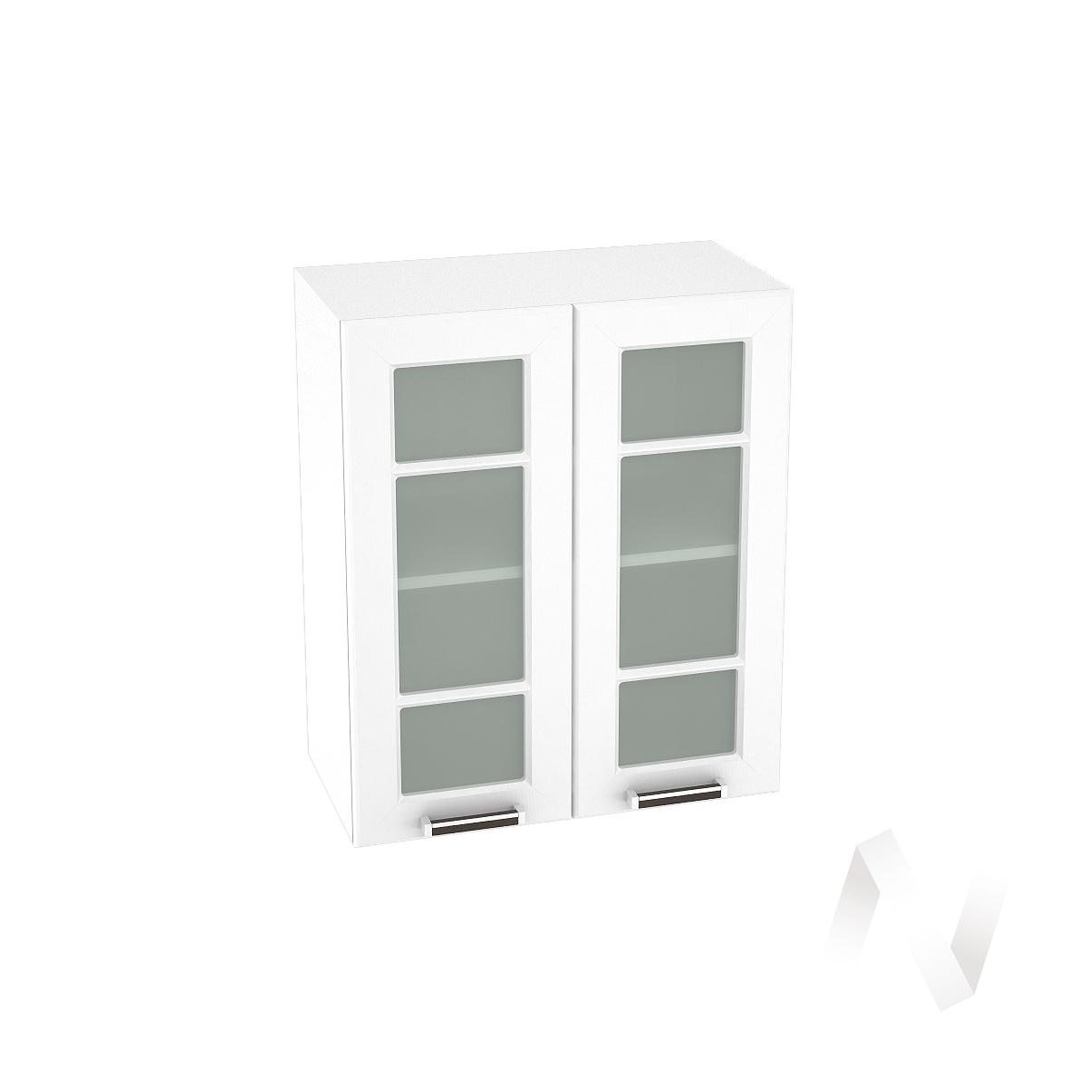 """Кухня """"Прага"""": Шкаф верхний со стеклом 600, ШВС 600 новый (белое дерево/корпус белый)"""