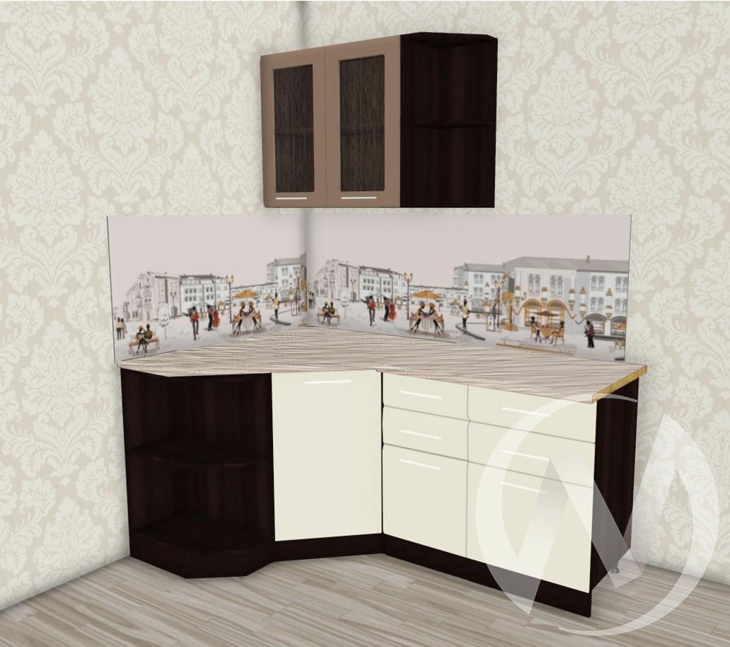 Кухня Люкс шоколад матовый/шелк жемчуг угловая 1.3*1,7
