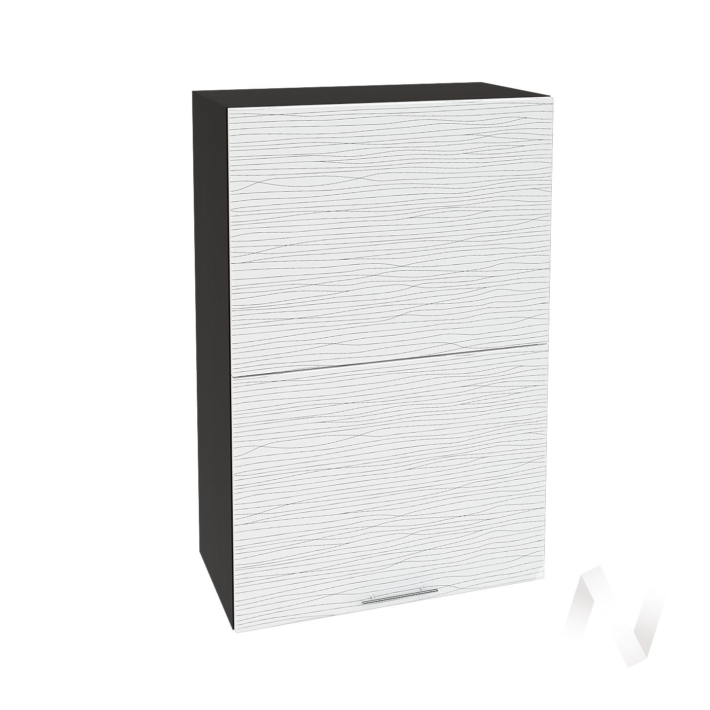 """Кухня """"Валерия-М"""": Шкаф верхний горизонтальный 602, ШВГ 602 (Страйп белый/корпус венге)"""