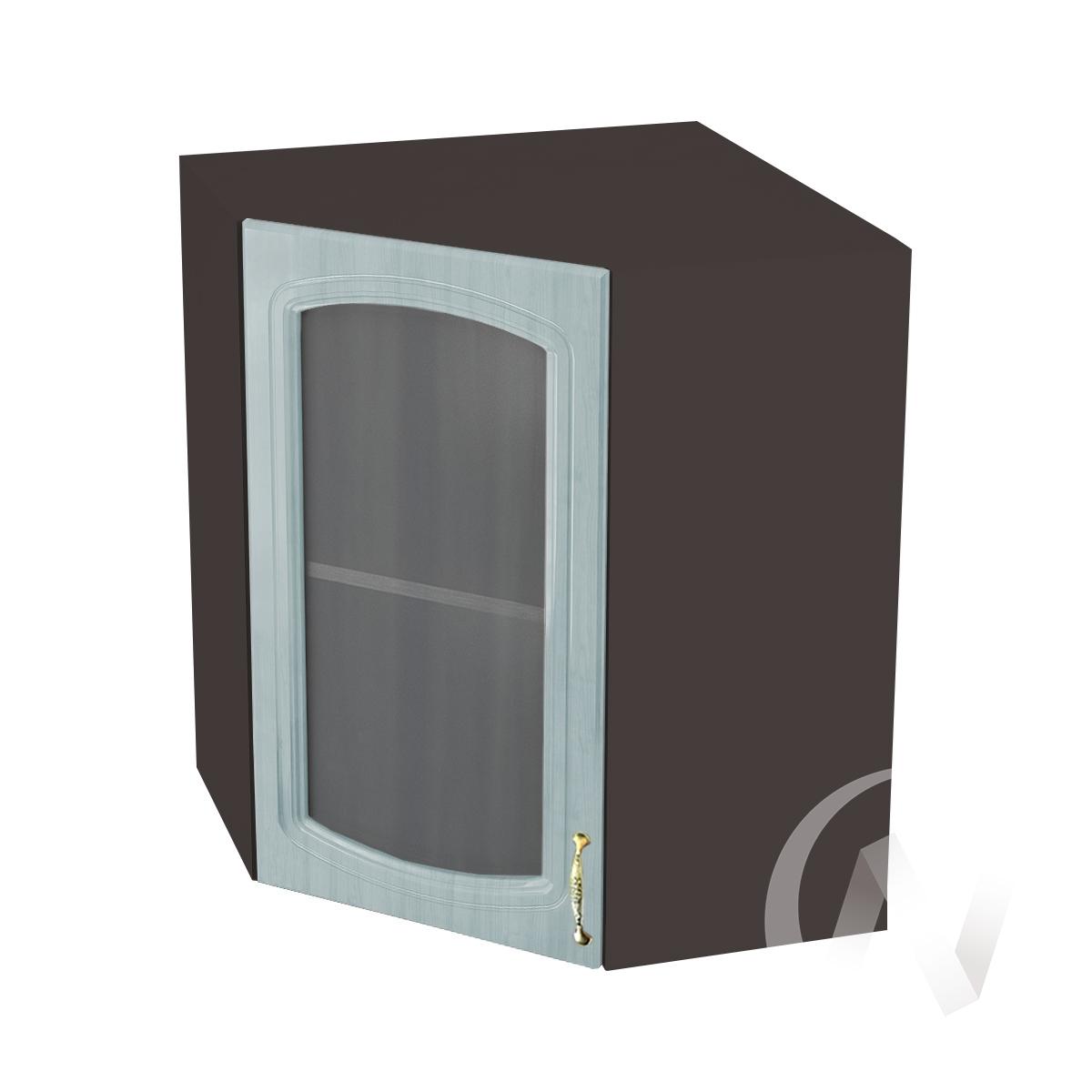 """Кухня """"Сити"""": Шкаф верхний угловой со стеклом 590, ШВУС 590 (корпус венге)"""