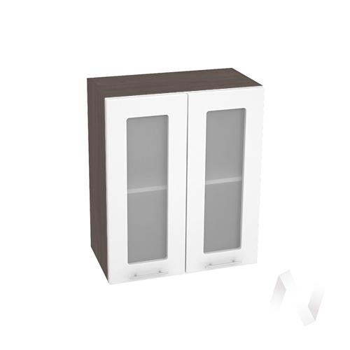 """Кухня """"Валерия-М"""": Шкаф верхний со стеклом 600, ШВС 600 новый (белый глянец/корпус венге)"""