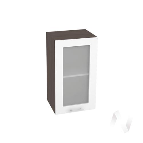 """Кухня """"Валерия-М"""": Шкаф верхний со стеклом 400, ШВС 400 (белый глянец/корпус венге)"""