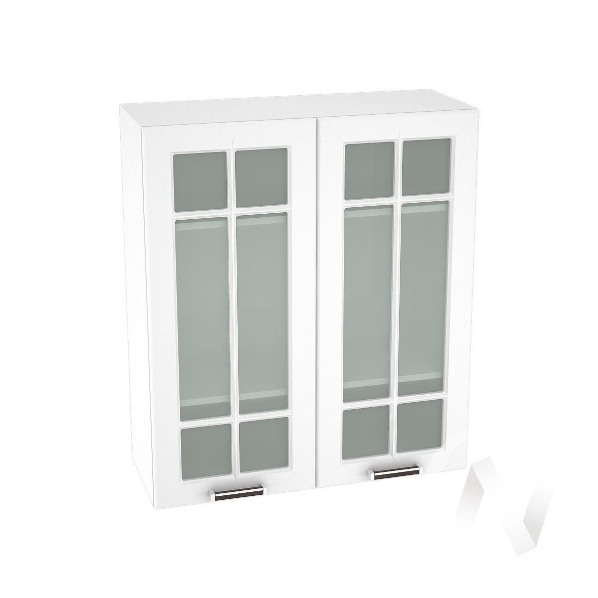 """Кухня """"Прага"""": Шкаф верхний со стеклом 809, ШВС 809 новый (белое дерево/корпус белый)"""