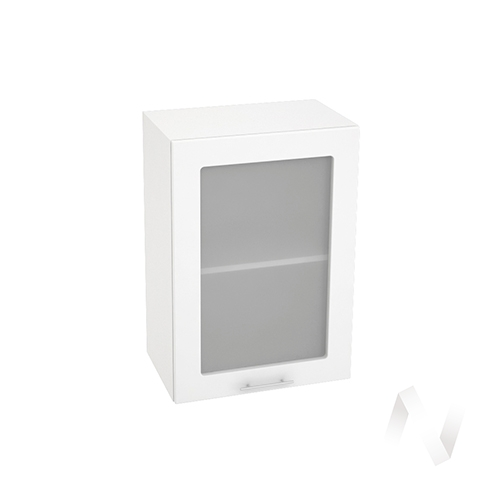 """Кухня """"Валерия-М"""": Шкаф верхний со стеклом 500, ШВС 500 (белый глянец/корпус белый)"""