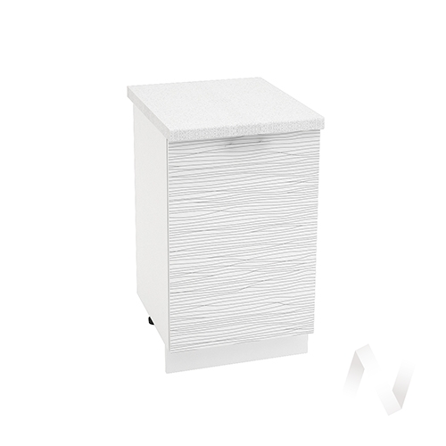 "Кухня ""Валерия-М"": Шкаф нижний 500, ШН 500 (Страйп белый/корпус белый)"