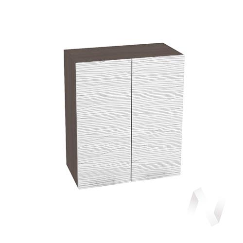 """Кухня """"Валерия-М"""": Шкаф верхний 600, ШВ 600 новый (Страйп белый/корпус венге)"""
